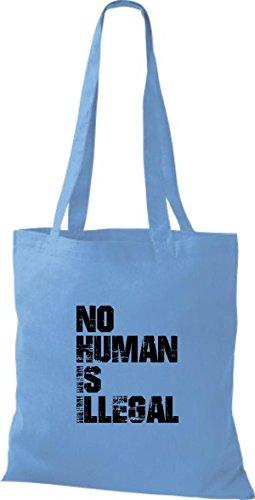 Shirtstown - Bolso de tela de algodón para mujer Azul - azul claro