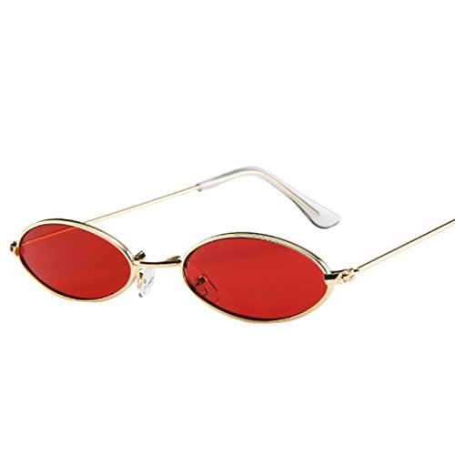 JoyJay Fashion Men Women Retro Small Oval Sunglasses Metal Frame Shades Unisex Eyewear