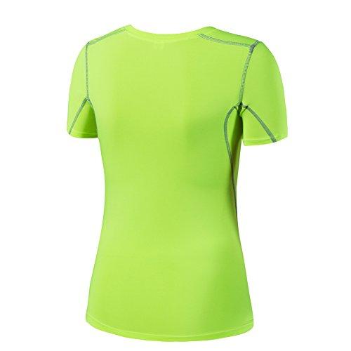 Bmeigo Mujer manga corta Sportswear Quick Dry Yoga Camiseta Deportiva Green