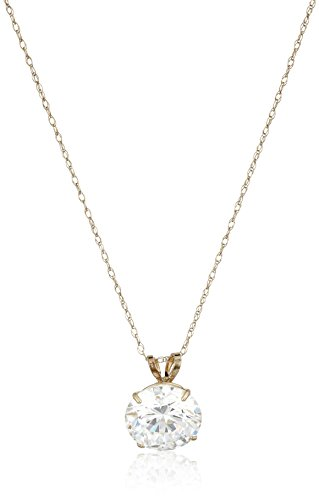 10k Cubic Ring Zirconia (10K Yellow Gold Solitaire Pendant Necklace set with Round Cut Swarovski Zirconia (3 cttw), 18