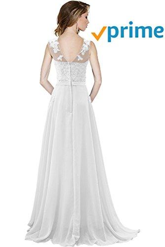 Lang Tuell Spitze Gorgeous Abendkleider Ballkleider Modisch Linie Festkleider Bride Rundkragen Chiffon A Weiß Schleppe 84nwqEwf0x