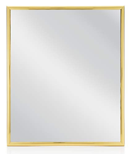 MONOINSIDE® Small Framed Rectangular Wall Mount Mirror, Gold Colored Plastic Frame, 12