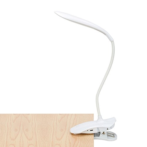 LED Clip Reading Light, 16LED Daylight Reading Light - 3 Brightness Levels, USB Rechargeable, Touch Switch Bedside Book Light Effectively Protects The Brightness of The - Daylight Clip