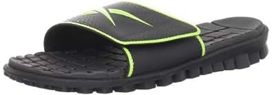 Reebok Men's Realflex Slide Sandal,Black/Charged Green,7 M US