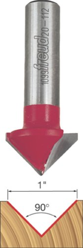 Freud 20-112 1-Inch Diameter 90-Degree V-Grooving Router Bit with 12-Inch Shank