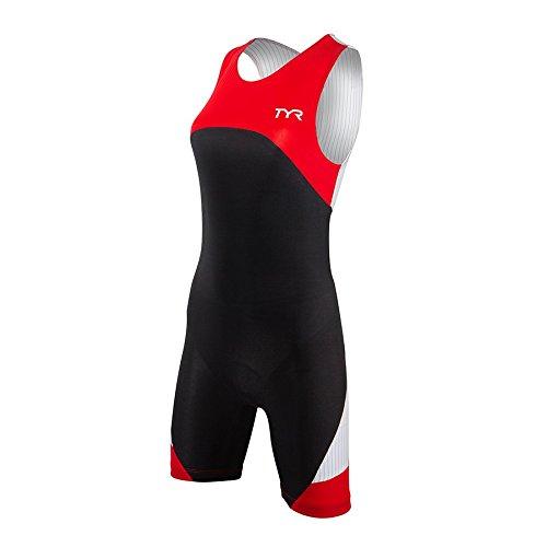 TYR Sport Women's Sport Carbon Zipper Back Short John Skin Suit with Pad (Black/Red, Medium) by TYR