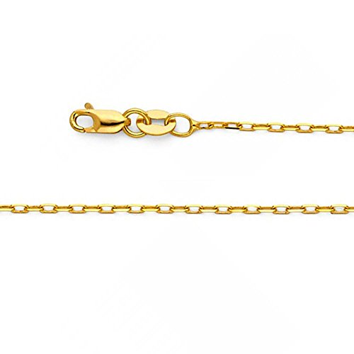 14k Solid Yellow Gold 1.2mm Oval Angled  - Gold Oval Cable Chain Shopping Results
