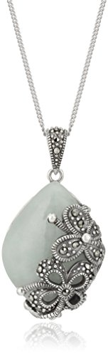Sterling Marcasite Marquise Pendant Necklace
