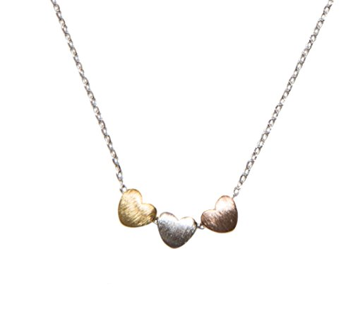 Hearts Grande Collection (Handmade 3 Heart Necklace | SPUNKYsoul Collection (Silver Chain with Gold Silver Rose Gold Hearts))