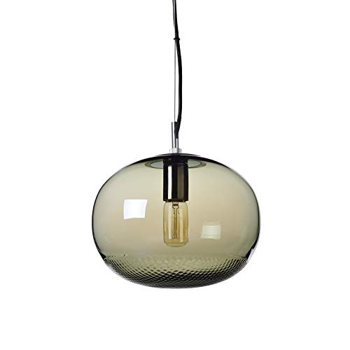 Casamotion Pendant Lighting Handblown Glass Drop Kichen Island Lights, Unique Ripple Contemporary Hanging Light, Polished Chrome Fitting, Grey ()