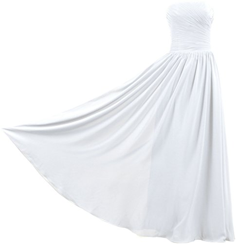 ANTS Women's Vintage Strapless Long Bridesmaid Dresses Chiffon Gown Size 22W US White