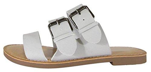 Cambridge Select Donna Slip-on Open Toe Fibbia Tripla Cinghia Sandalo Piatto Grigio Chiaro Nbpu