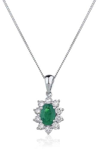 0.88CT Certified G/VS2 Emerald Oval Shape Centre and Round Brilliant Cut Claw Set Diamond Pendant in 18K White Gold
