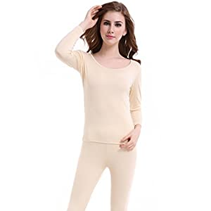 Thermal Underwear Women Long - Scoop Neck Ultra - Thin Johns Set Top & Bottom