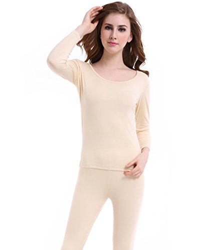 Thermal Underwear Women Long - Scoop Neck Ultra - Thin Johns Set Top & Bottom (Womens Lightweight Long Underwear)