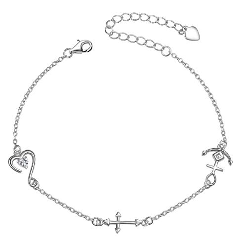 S925 Sterling Silver Faith Hope Love Heart Cross Anchor Vintage Pendant Necklace Ring Jewelry Set (Bracelet)