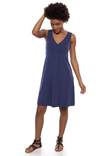 Empire Jersey Waist V-neck (Texere Women's Empire Waist Casual Dress (Hinata, Gulf Blue, L) Summer Dress)