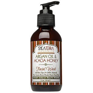 Shea Terra Organics Argan Oil & Acacia Honey Facial Wash Cleanser - Anti Aging, Breakout & Wrinkle Reducing Face Wash for Clear & Reduced Pores - With Organic & Natural Ingredients 4 Oz