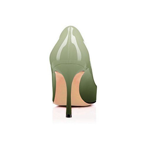 FSJ Women Flattering Peep Toe Formal Dress Shoes Glossy Patent High Heels Pumps Size 4-15 US Honeydew Gradient pre order online limited edition online discount collections really cheap online T5FT9Ft1