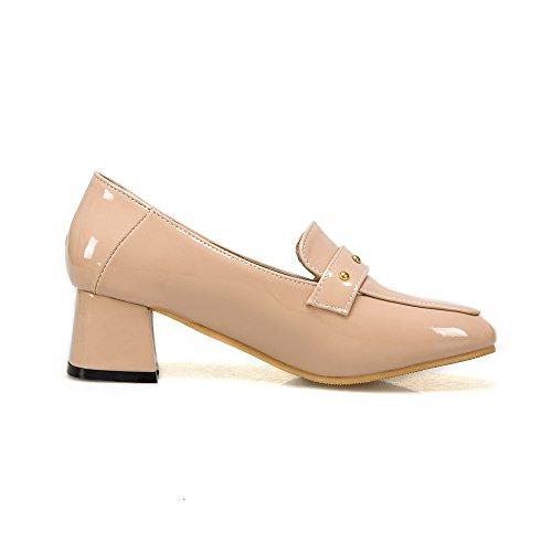 AgooLar Damen Mittler Absatz Blend-Materialien Rein Quadratisch Zehe Pumps Schuhe, Aprikosen Farbe, 40