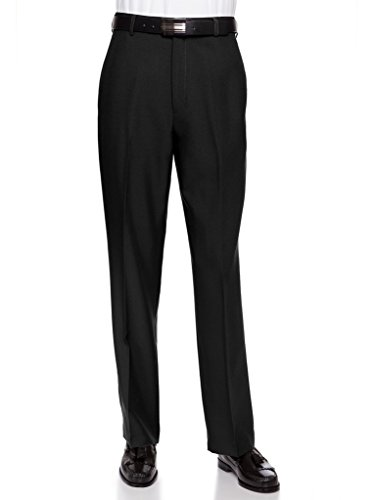 Black Cuff Pants (RGM Men's Flat Front Dress Pant Modern Fit - Perfect For Office, Business and Every Day! Black 34W x 32L)