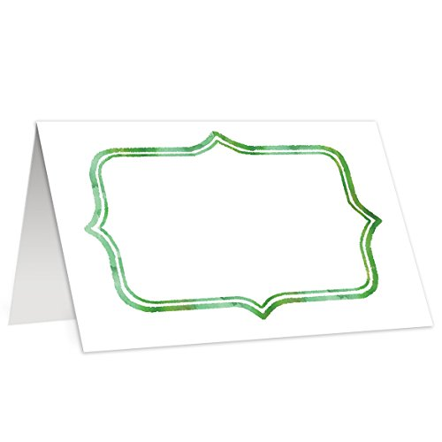 (Classic Place Cards Set of 50 Simple Holiday Green Watercolor Frame Traditional Christmas Birthday Event Party Dinner Table Buffet Food Tent Blank Guest Name Escort Cards 3.5 x 2 Inches Digibuddha)