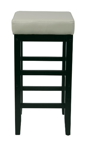 Office Star Metro Faux Leather Square Barstool with Espresso Legs, 30-inch, Cream