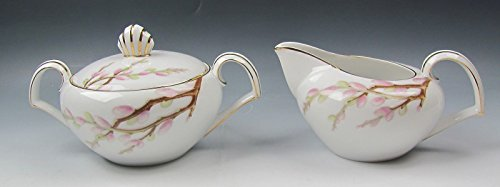 (Kent China SPRING WILLOW Creamer and Sugar Bowl with Lid EXCELLENT)
