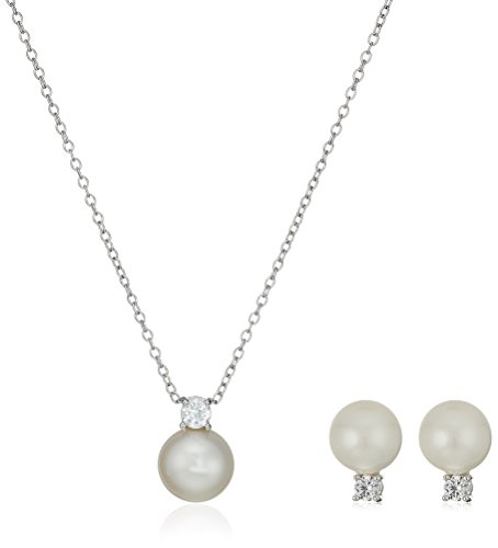 Sterling Silver Lab-Created White Sapphire and Genuine Pearl Stud Earrings and Pendant Necklace Jewelry Set by Amazon Collection