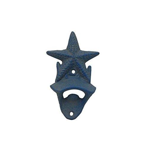 Hampton Nautical Rustic Light Blue Cast Iron Wall Mounted Starfish Bottle Opener 6'' - Starfish Decoration - Starfish Wall Decor