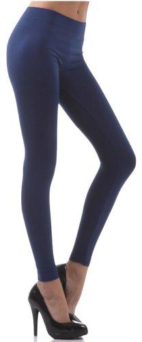ToBeInStyle Women's Footless Elastic Leggings - One Size - Navy Blue