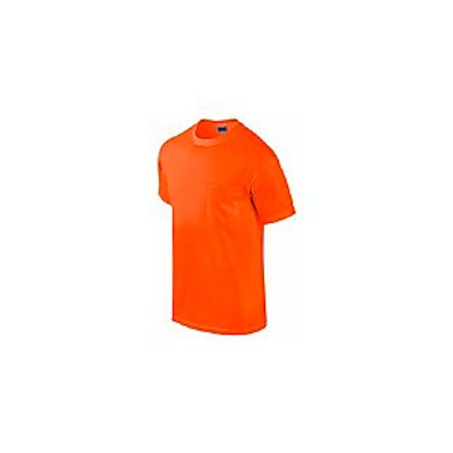 gildan usa inc g2300org-l 2 Pack, Adult, Large, Safety Orange, Short Sleeve, Pocket Tee Shirt