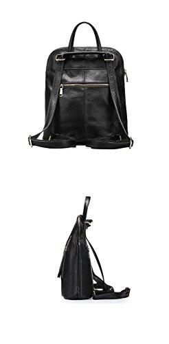 dos FZHLY à Sac grande à Black capacité en cuir de Sac Sac main Sac à usage Femmes dos dos double sac bandoulière à véritable Rhombic à vnx8n7