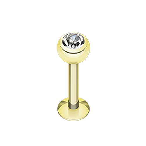 16G or 14G Gold Plated Clear Gem Ball Steel Labret (Sold Individually) (16G, L: 3/8
