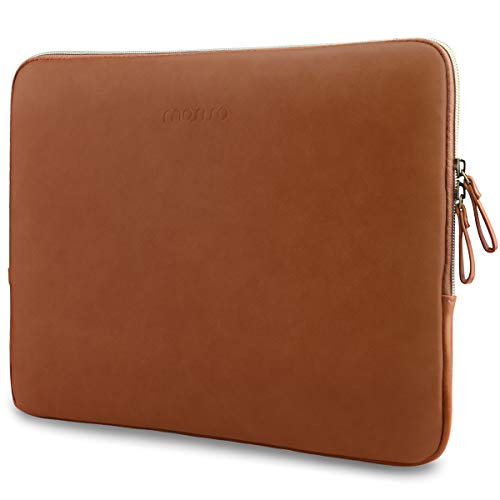 MOSISO Laptop Sleeve Compatible with 13-13.3 Inch MacBook Air/MacBook Pro Retina/Surface Laptop 2 2018 2017/Surface Book, PU Leather Super Padded Bag Waterproof Protective Case, Brown