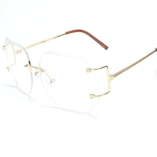 Rimless Shades - MINCL/2016 HOT RIMLESS SUNGLASSES WOMAN CLEAR LENS (gold, clear)