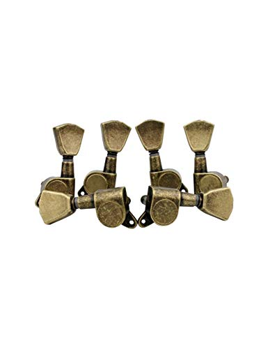 (Guyker 6 Pcs Guitar Machine Heads (3 for Left + 3 for Right) - String Tuning Key Peg Tuners Replacement for Electric or Acoustic Guitars (Antique Brass))