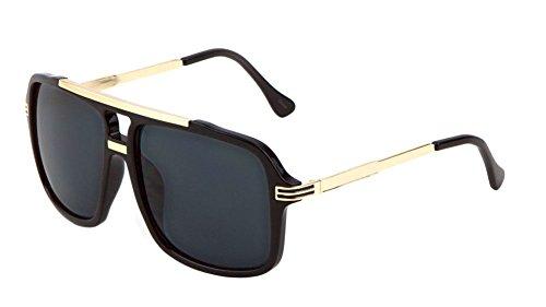 Evidence Metal & Plastic Hip Hop Flat Top Aviator Sunglasses (Matte Black & Gold Frame, - Black Sunglasses Aviator And Gold