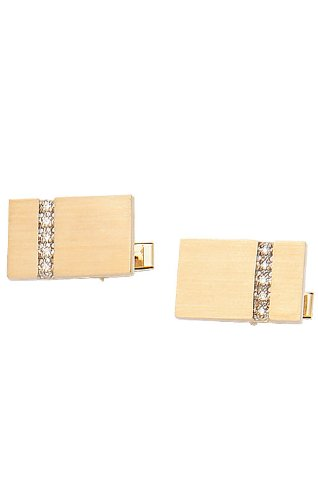 14K Yellow Gold Rectangle Cufflinks With Brushed Finish And Row of Diamonds-86601 - Yellow Gold Diamond Cufflinks