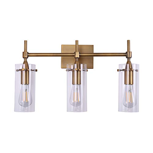 Effimero 3 Light Bathroom Vanity Light | Antique Brass Hallway Wall Sconce ()