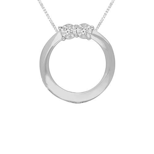 Original Classics Sterling Silver Rose-Cut Diamond Circle Pendant Necklace (0.1 cttw, I-J Color, I3 Clarity)