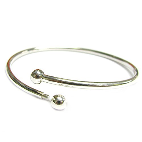 Queenberry Sterling Silver Flex Bangle Cuff Bracelet with Screw End For European Bead Charms, 7