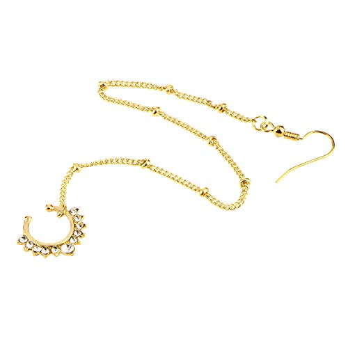 vcmart Fake Septum Ring Non Pierced Stud Nose to Ear Chain]()
