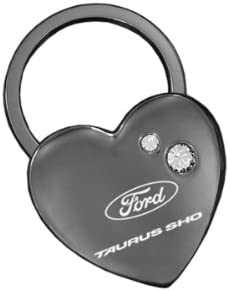 Ford Taurus SHO Heart Shape Black Key Chain With 2 Clear Crystals Keychain