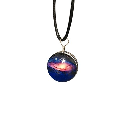 SICHENDZ Galaxy & Cosmic Pink Glass Pendant Necklace, 16'' Leather Rope, Great Gift for Women