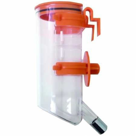 orange Choco Nose H220 Classic Opened-Top Water Feeder with Hook, Pet Water Dispenser, Water Bottle for Small-Sized Dog, Cat, Medium-Sized Rabbit, No Drip, 13.5 Oz. Nozzle Diameter  16Mm