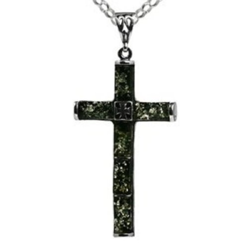 Green Amber Sterling Silver Filigree Back Reversible Large Cross Pendant Rolo Chain 18