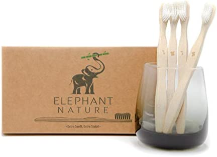 ELEPHANT NATURE Bambus Zahnbürsten - 4 STK Vegan, Nachhaltig, Biologisch Abbaubar, Weiße und Weiche Borsten, Umweltfreundliche Verpackung natürliche Holzzahnbürste