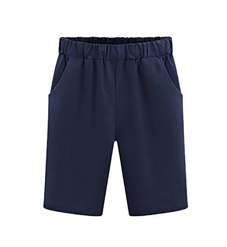 Sciolto Pantaloncini Casual Bermuda Taglie Blu Estivi Donna Moda Shorts Comode Basic Puro Colore Forti qPZ04qw