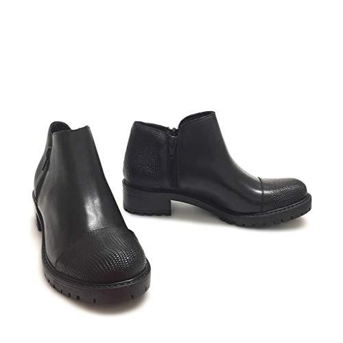 Gar Donna Rettile Con Neri Nero Italy In Carrarmato Stivaletti Shoe Made Vera Doppia Pelle Zip 4FwdTwSq